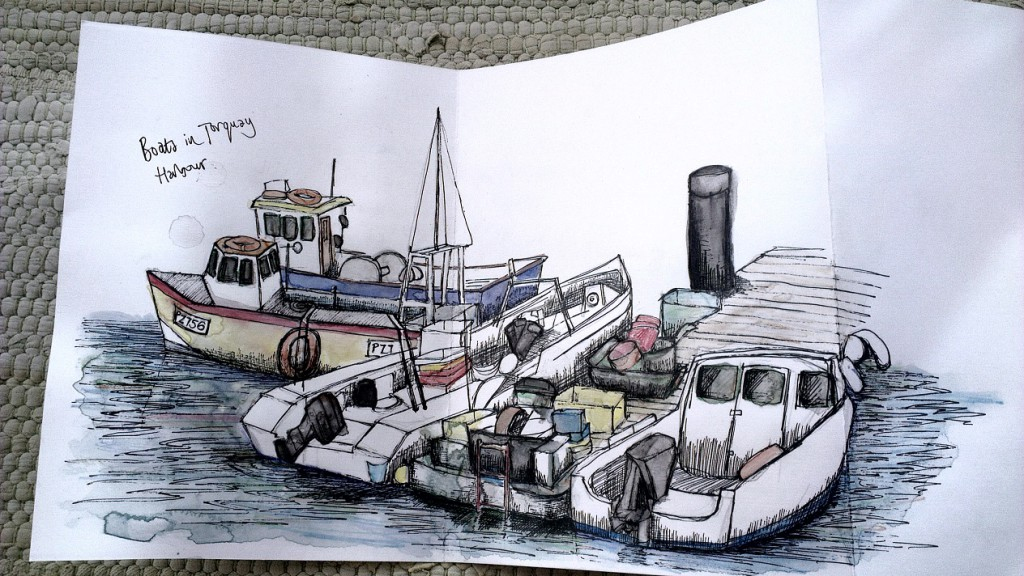Sketch of boats in Torquay Harbour by Hannah Foley (hannah@owlingabout.co.uk