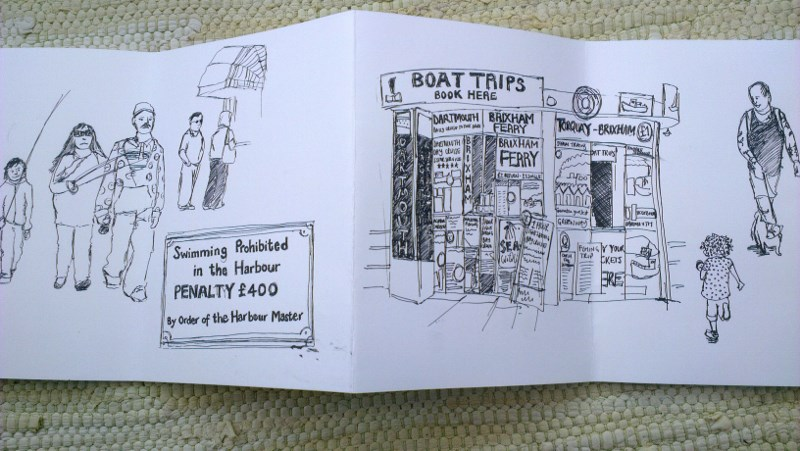 sketches of people at the seaside by Hannah Foley (hannah@owlingabout.co.uk