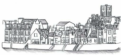 Pen and ink illustration of North Berwick by Hannah Foley (all rights reserved) www.owlignabout.co.uk