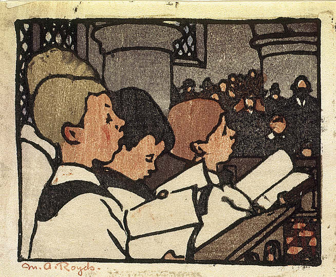 Choir Boys by Mabel Royds (woodcut) (National Galleries of Scotland)