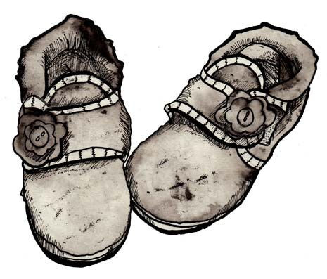 A little girl's slippers by Hannah Foley. All rights reserved (www.owlingabout.co.uk)