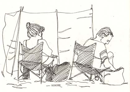 A sketch of a couple on the beach by Hannah Foley. All rights reserved (www.owlingabout.co.uk).