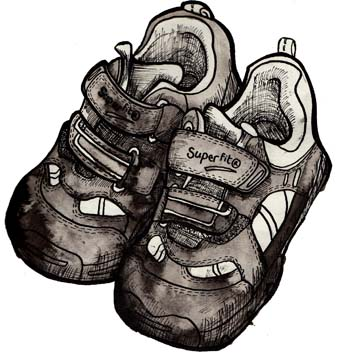 Illustration of a little girl's trainers by Hannah Foley. All rights reserved (www.owlingabout.co.uk).