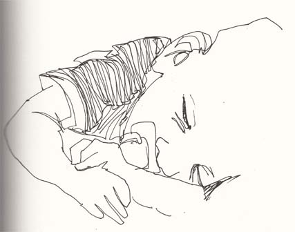 Sketch of a little boy sleeping by Hannah Foley. All rights reserved (www.owlingabout.co.uk).