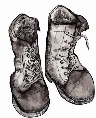Illustration of a little girl's boots by Hannah Foley. All rights reserved (www.owlingabout.co.uk).