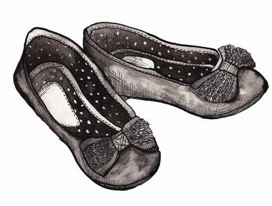 Illustration of a little girl's party shoes by Hannah Foley. All rights reserved (www.owlingabout.co.uk).