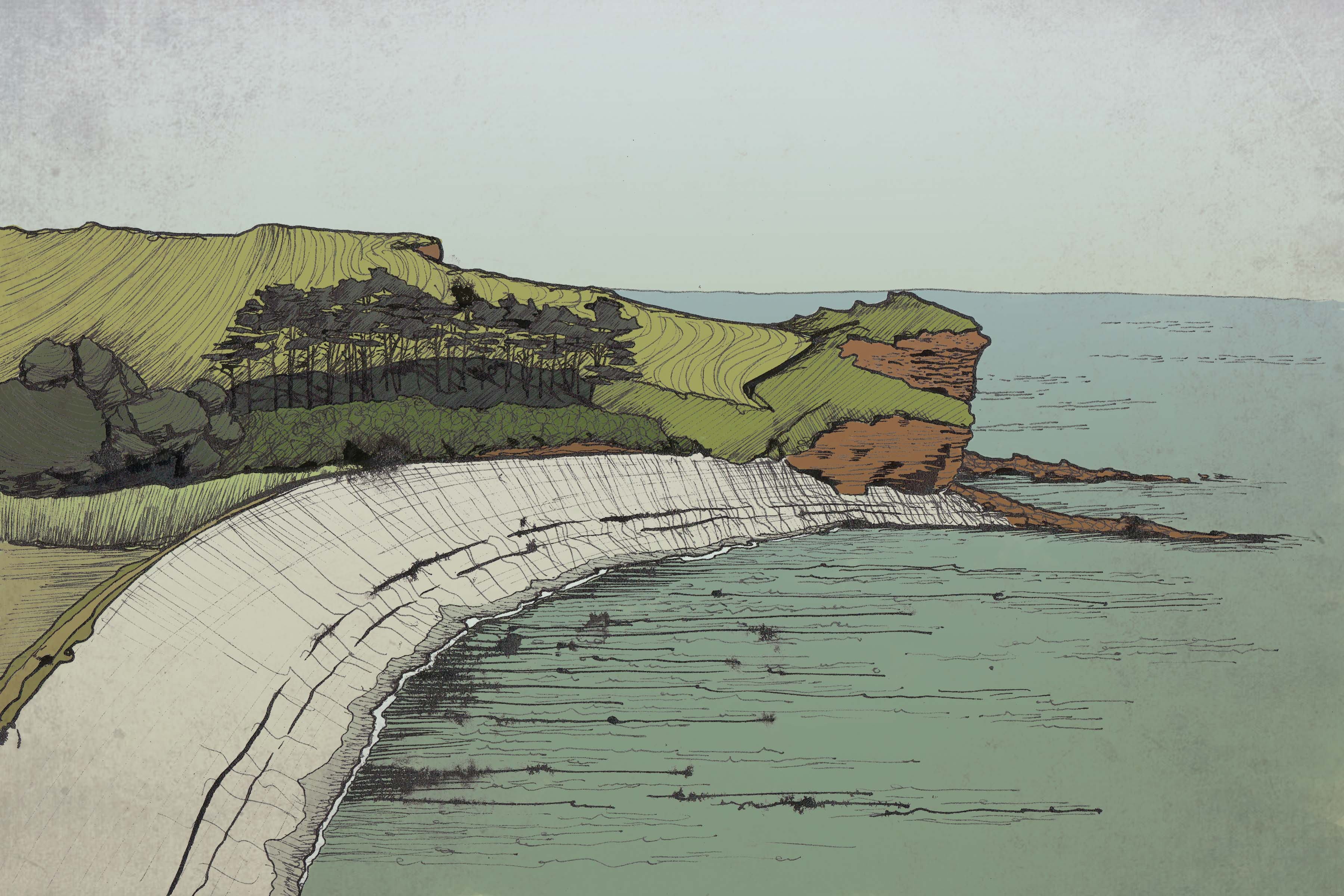 Sketch of beach at Budleigh Salterton by Hannah Foley. All rights reserved (www.owlingabout.co.uk)