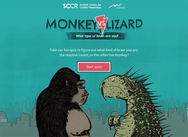Monkey vs Lizard Game screen shot.