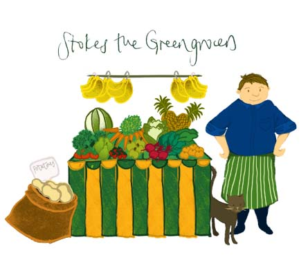 'Stokes the Greengrocers' by Hannah Foley. All rights reserved (www.owlingabout.co.uk)