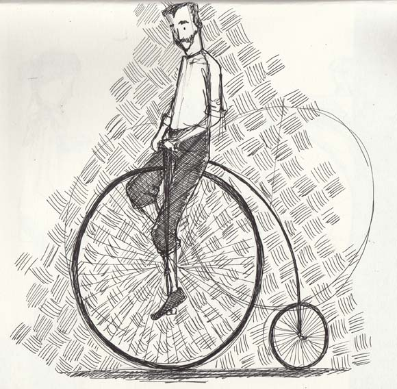 Sketch of a man on a penny farthing by Hannah Foley. All right reserved (www.owlingabout.co.uk)