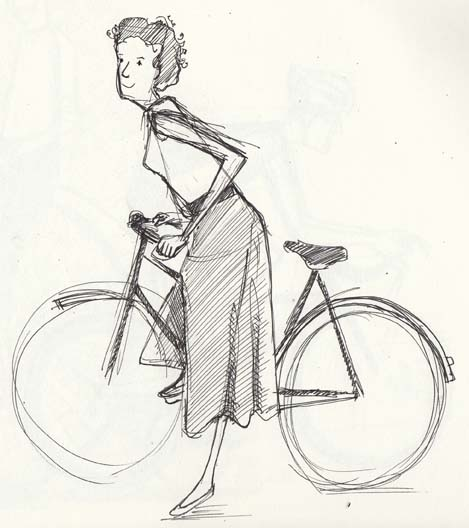 Sketch of a woman and her bicycle by Hannah Foley. All rights reserved (www.owlingabout.co.uk)