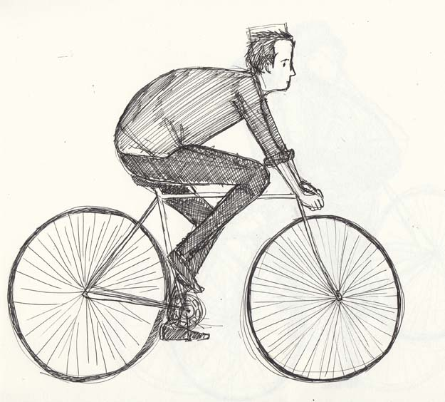 Sketch of a man on a bike by Hannah Foley. All right reserved (www.owlingabout.co.uk)