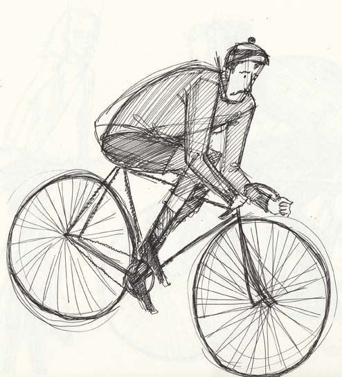 Sketch of a man on a bicycle. All rights reserved (www.owlingabout.co.uk)