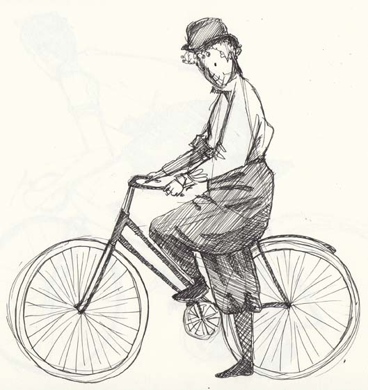 Sketch of a lady and her bicycle by Hannah Foley. All right reserved (www.owlingabout.co.uk)