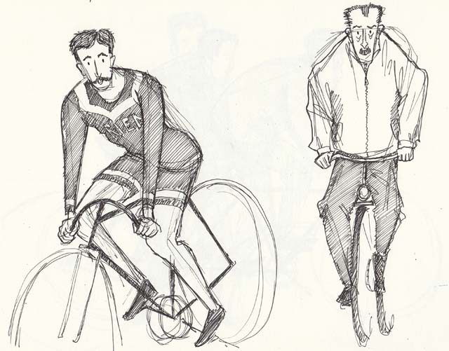 Sketches of cyclists by Hannah Foley. All rights reserved (www.owlingabout.co.uk).
