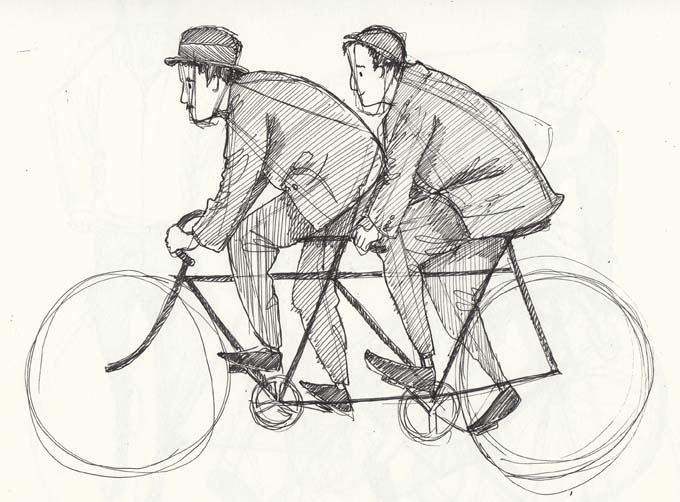 Sketch of two men on a tandem by Hannah Foley. All right reserved (www.owlingabout.co.uk)
