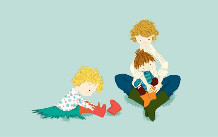 Illustration of family putting their boots on by Hannah Foley. All rights reserved (www.owlingabout.co.uk)