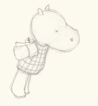 Sketch of a nervous little hippo in swimming gear by Hannah Foley. All rights reserved (www.owlingabout.co.uk).