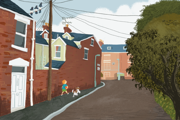 children's illustration, dog, street, town, digital, painterly