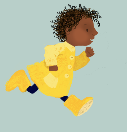 girl, raincoat, wellies, yellow, ethnic minorities, diversity, mixed race, running, yellow, navy
