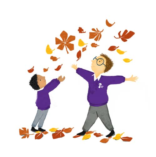 leaves, red, orange, yellow, brown, purple, grey, boys, school, children, autumn, seasons, education, illustrator, hannah foley, illustration, kids, picture books