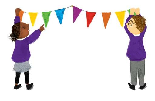 bunting, children, fete, fair, fayre, illustration, Hannah Foley, kids, children, purple, red, orange, brown, blue, green, black, grey