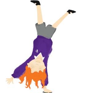 purple, girl, cartwheel, ginger, orange, white, black, grey, purple, children, kids, illustration, hannah foley, illustrator, educational, education, school