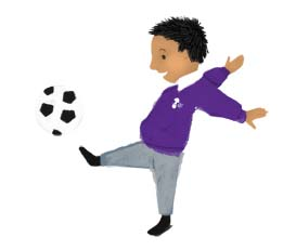 hannah foley, illustrator, boy, football, illustration, children, kids, school, uniform, purple, brown, black, white, grey,  sports, education