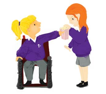 purple, black, grey, white, wheelchair, disability, children, girls, uniform, school, yellow, ginger, orange, illustrator, Hannah Foley, illustration, popcorn, school, education