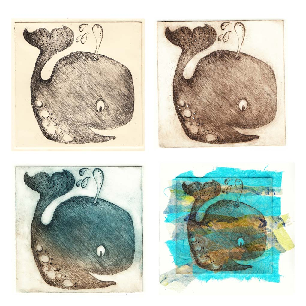 Whale in drypoint and chine colle x4 by Hannah Foley. All igths reserved (www.owlingabout.co.uk)