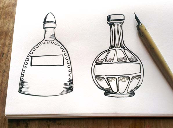 bottles, vintage, ink, dip pen, sketchbook, hannah foley, illustrator