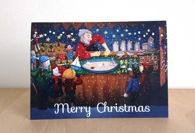 toy shop, Christmas, market, cards, children, toys, wooden, lights, seasons, illustration, illustrator, snow, presents,
