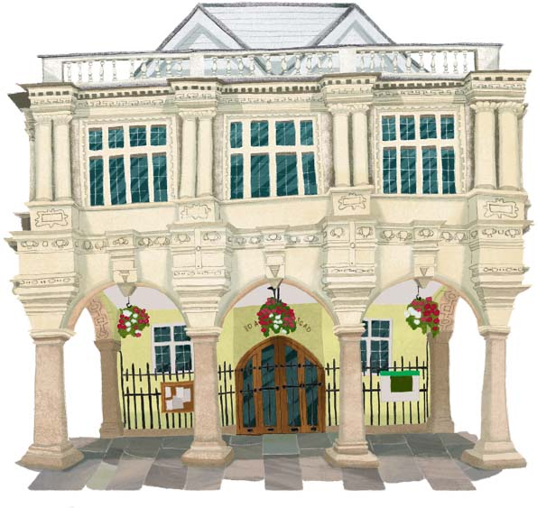 Exeter, guildhall, Exeter Illustrators, Exeter, illustration, illustrator, Hannah Foley, buildings, city, urban, medieval