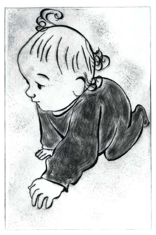 dry point, etching, ink, printmaking, baby, crawling, black, white, children, illustration, illustrator, Hannah Foley