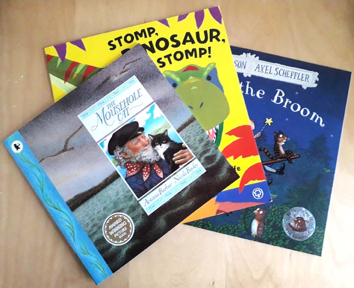 Mouse hole Cat, Antonia Barber, Nicola Bayley, Stomp Dinosaur Stomp, Margaret Mayo, Alex Aycliffe, Room on the Brrom, Julia Donaldson, Axel Scheffler