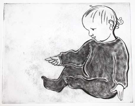 baby, sitting, pointing, dry point, printmaking, Hannah Foley, illustrator, illustration, children