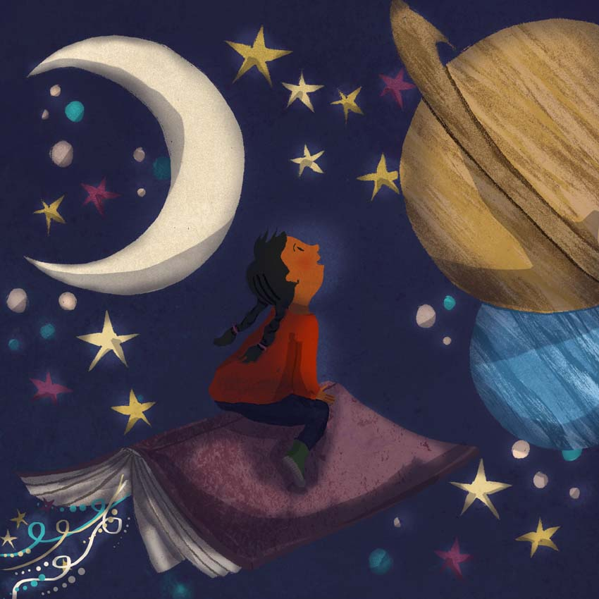 magical stories, world book day, imagination, stars, planets, moon, Hannah Foley, illustrator, illustration