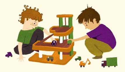 boys, playing, cars, garage, digger, lorry, children, illustration, illustrator, Hannah Foley