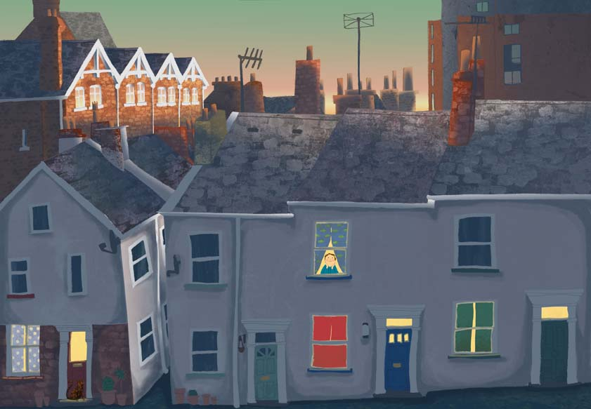 city, sunset, Hannah Foley, illustrator, illustration, children, kids, books, picture books, fiction, cat, boy, rooftops, chimneys, children's book art, picture books art, kid lit art