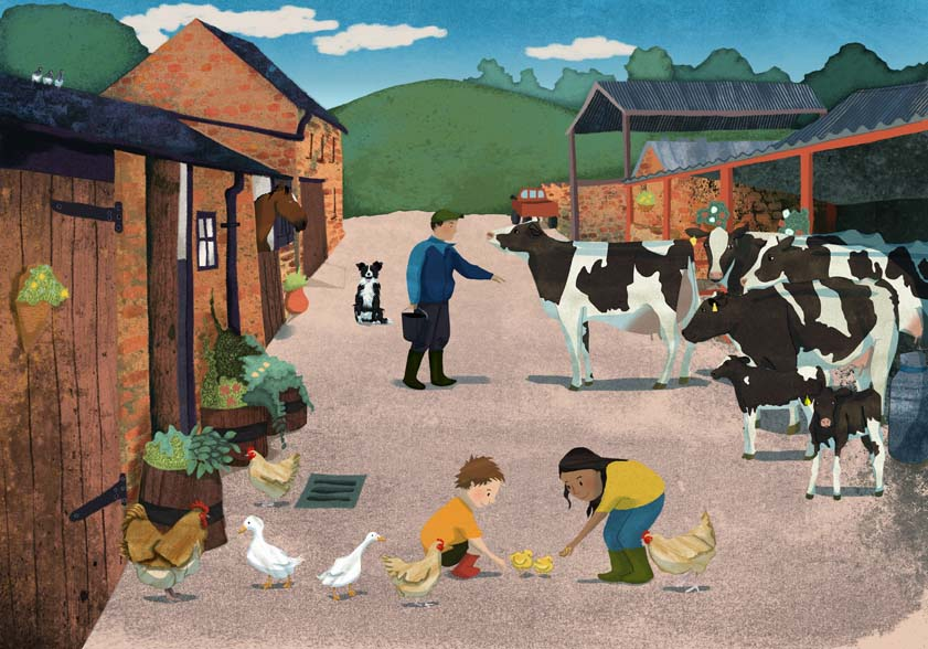 Hannah Foley, illustrator, illustration, children's book art, children, children's books, non-fiction, farm, cows, ducks, chickens, rooster, pigeons, sheep dog, horse, pick-up truck, hills, farmyard
