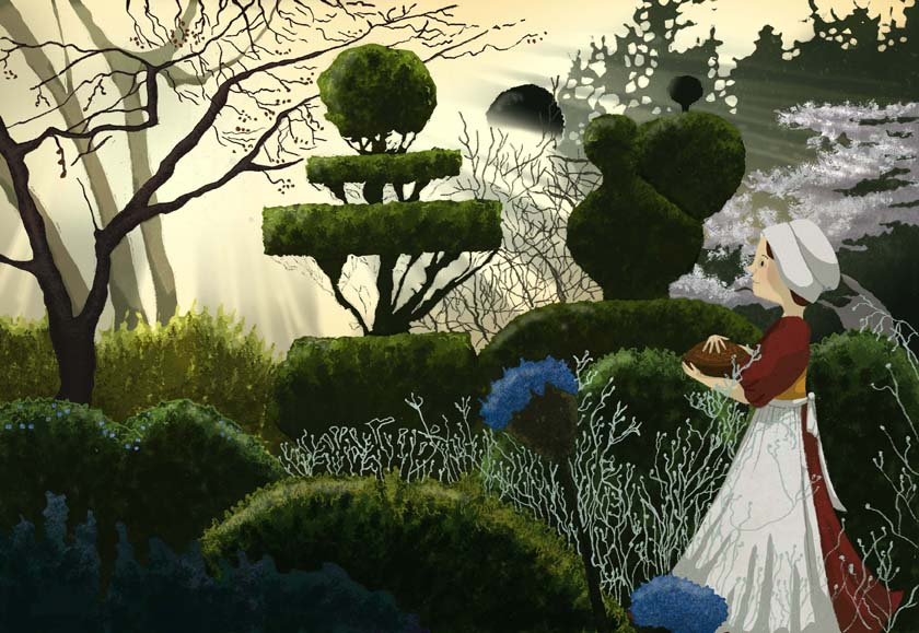 tudor, garden, hannah foley, illustration, illustrator, childrens' books, childrens' book art, non-fiction, history, gardens, morning, winter, topiary, maid