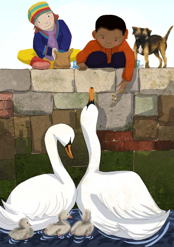 swans, feeding swans, cygnets, hannah foley, illustrator, illustration, children, children's book art, dog,
