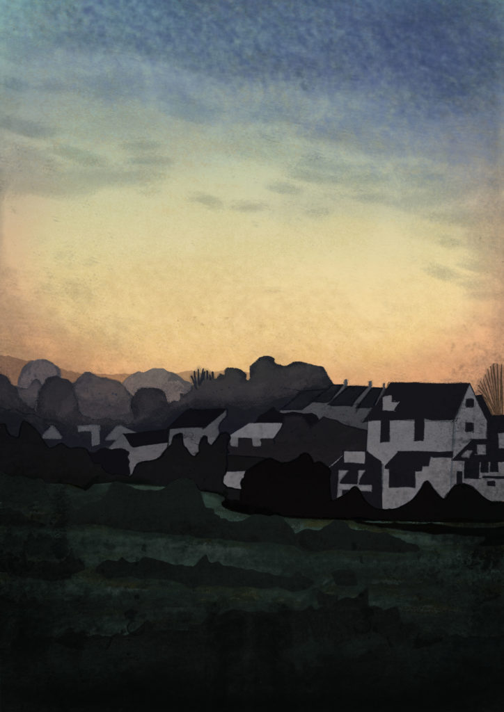 exeter, hannah foley, illustration, illustrator, landscape, exeter, sunrise