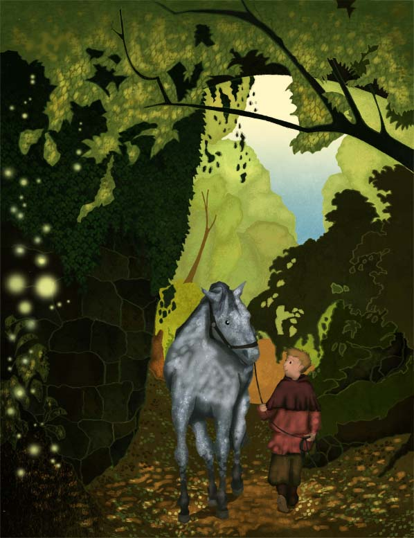 illustration, illustrator, Hannah Foley, boy, horse, woodland, magic, fairies, elves, pixies, natural history, trees, children, kids, children's book art, kid lit art