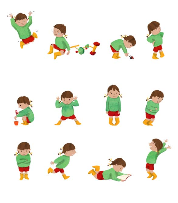 character development, girl, children, children's book art, picture book art, illustration, illustrator, hannah foley, running, jumping, crying, laughing, reading