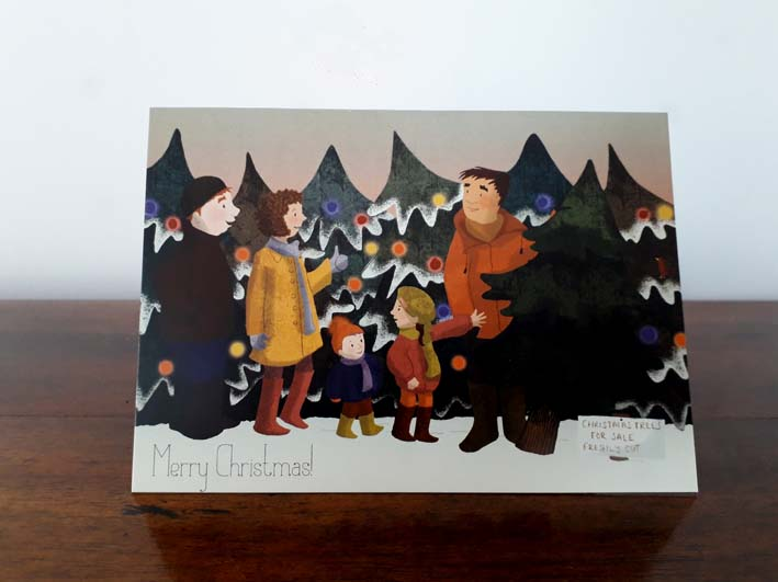 Christmas, Christmas cards, Hannah Foley, illustrator, illustration, Christmas Tree, family, snow, pine trees, sunset, winter, Christmas preparations, buying Christmas tree