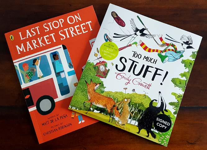 Last Stop on Market Street by Matt De Lan Pena and Christian Robinson. Too Much Stuff by Emily Gravett. Photograph by Hannah Foley (www.hannah-foley.co.uk)